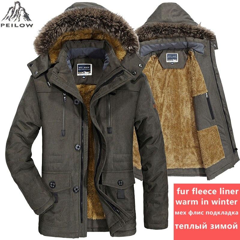 PEILOW plus taille 5XL 6XL Hiver Veste Hommes épais Coupe-Vent Capot parka mens vestes et manteaux Coupe-Vent Manteau Jaqueta masculina