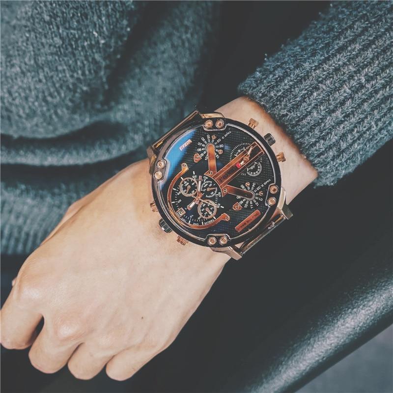 HipHop ייחודי Creative שתי תנועות גדול חיוג גברים קוורץ שעוני יד איש קלאסי צבאי כחול Ray שעונים זכר ספורט שעון