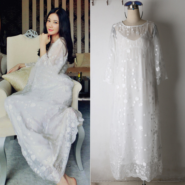 Lace Robe Set Spring Summer Nightgown Two-piece Robe Set For Women Long-sleeved Robe Sweet Princess Sleepwear Home Dress Lace