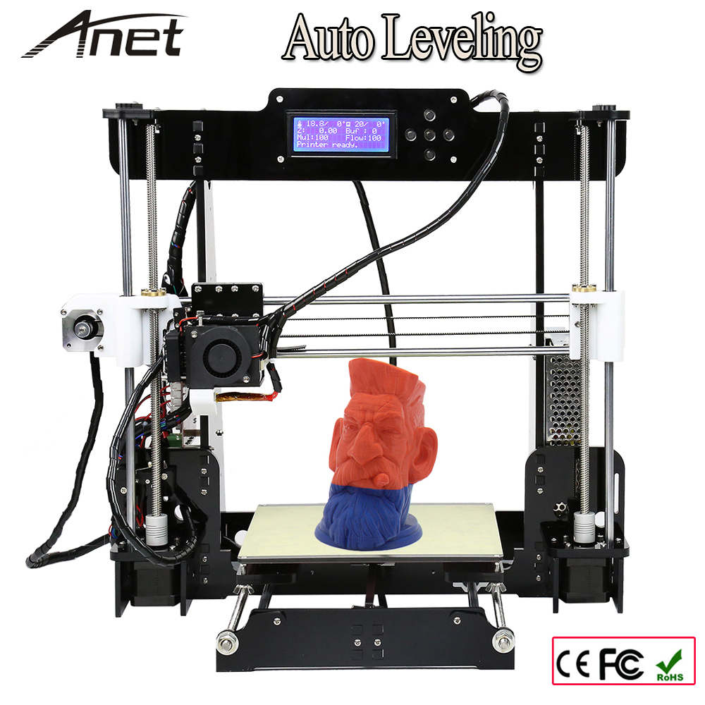 Normal & Auto Level A8 220*220*240mm High Precision Reprap Prusai3 DIY 3D Printer Kit with 1 Rolls Filament 8GB SD card & LCD