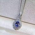 Natural azul tanzanite pingente S925 prata Natural gemstone Colar Pingente de moda de Luxo elegante de frutas dom mulheres jóias