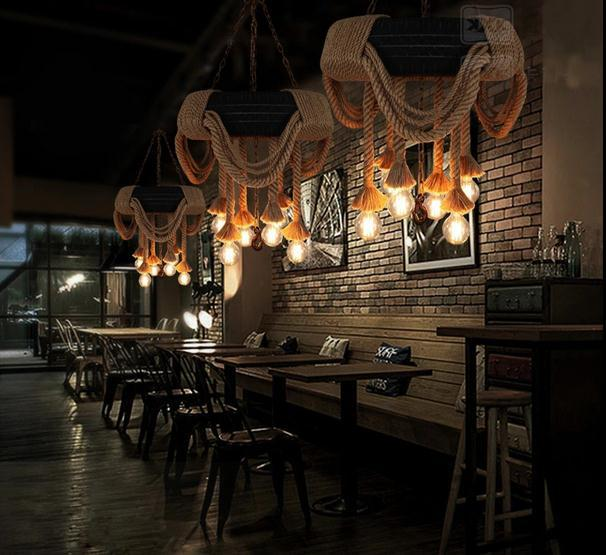 Américain Industrielle Pneus Chanvre lampe à suspension corde Lampadario Pendentifs Pour salle à manger lampe de bar