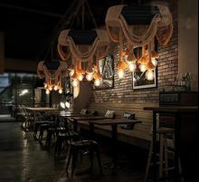 Американский промышленные шины пеньковая веревочный подвесной светильник Lampadario подвески для столовой Бар лампа