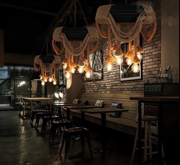 Pneumatici Industriale americano Corda di Canapa Lampada a Sospensione Lampadario Pendenti con gemme e perle Per La sala da pranzo lampada bar