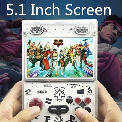 RS11 pantalla grande de 5,0 pulgadas CPU de 4 núcleos consola de juegos de 64 bits compatible con cuatro jugadores Conexión de TV juegos multisimulador consola de juegos