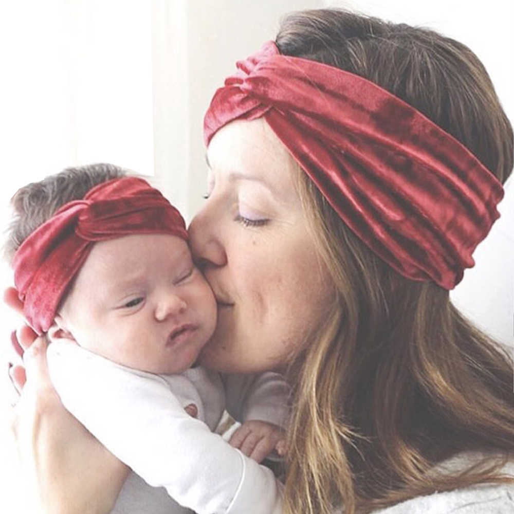 2019 New 2Pcs Mom & Kids Bow Knot Turban Matching Headband Mom Daughter Velvet Elastic Hair Band Hair Accessories