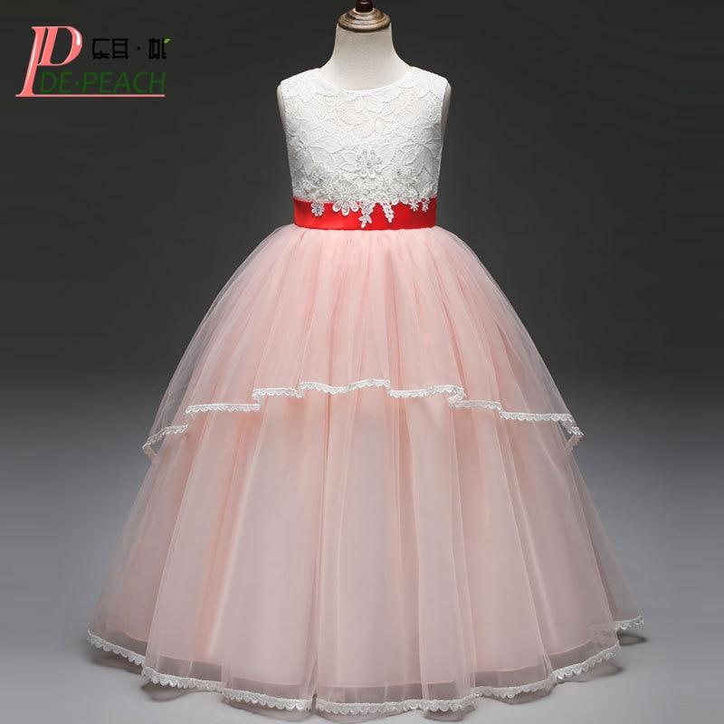 DE PEACH New 2018 Princess Party Girls Dress Bow Lace Flower Kids Wedding Dresses Girl Ball Gown Vestidos Children Clothing