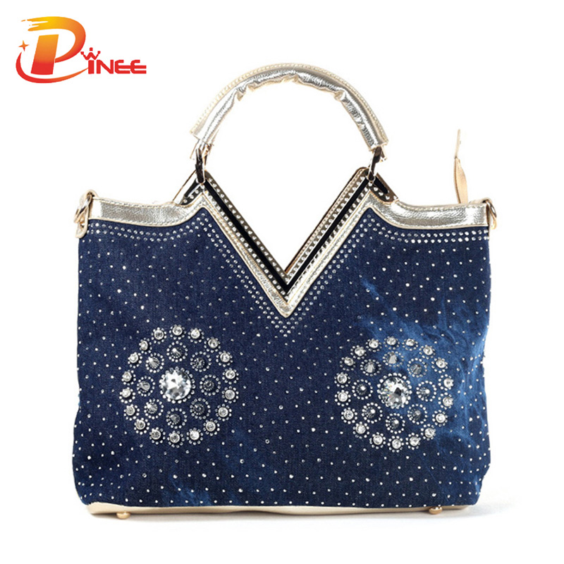 ФОТО European Style bags women handbags famous brands fashion denim design rhinestones and rivets woman messenger bags