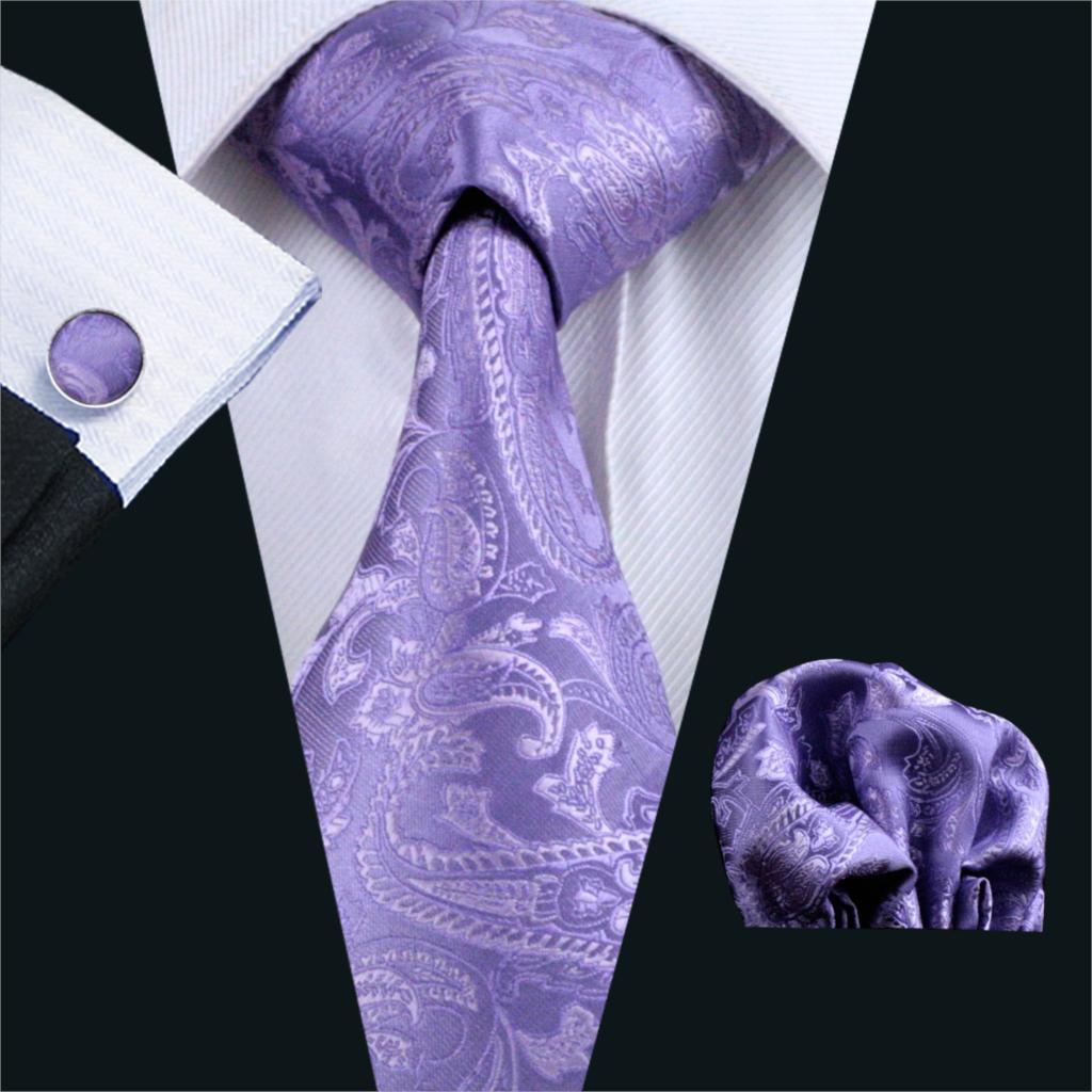 FA-763 gents corbata púrpura Paisley 100% Silk jacquard tie las mancuernas del pañuelo fijaron los lazos del Partido de Boda del negocio para los hombres envío libre