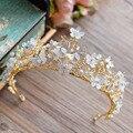 Мода Золото Большой Барокко Бабочка Тиара Корона Европы Hairbands свадебные аксессуары Для Волос