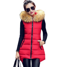 Women Winter Vest Waistcoat 2016 Womens Long Vest Jacket Sleeveless Artificial Fur Collar Hooded Down Cotton Warm Vest Female(China)