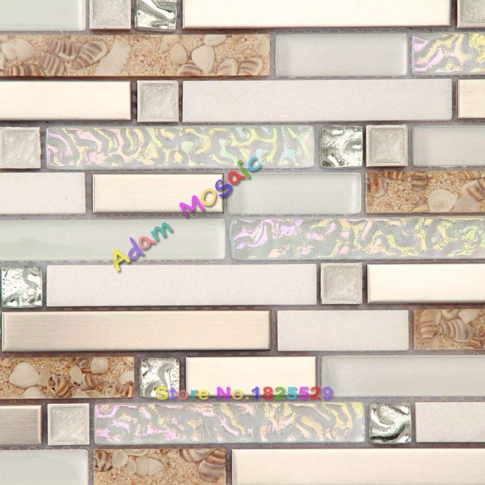 Bathroom Wall Mosaic Tiles White Stone Tile Backsplash Iridescent ...