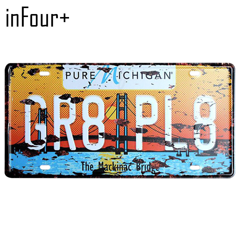 [inFour+] GR8-PL8 License Plate Metal Plate Car Number Tin Sign Bar Pub Cafe Home Decor Metal Sign Garage Painting Plaques Signs