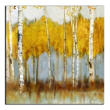 Laeacco Canvas Calligraphy Printing Abstract Watercolor Natural Posters and Prints Graffiti Yellow Trees Home Living Room Decor