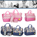 5 Pcs/Set Diaper Bag Mummy Stroller Handbag Multifunctional Large Maternity Messenger Baby Changing Nappy Diaper Bag with Mat