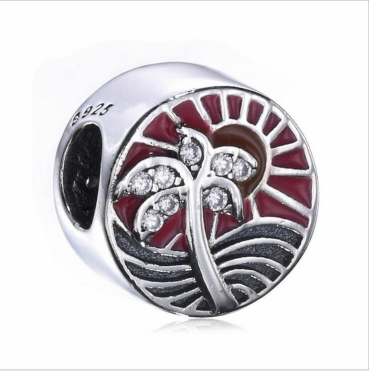 Authentic 925 Sterling Silver Summer days sunlight coconut tree mosaic Crystal Enamel beads Fits Pandora Bracelets DIY berloque