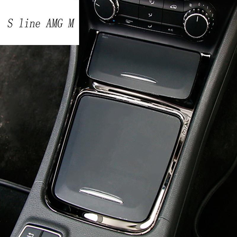 Автомобильный Стайлинг Аксессуары для интерьера центральный ящик для хранения отделка пепельница рамка из нержавеющей стали для Mercedes Benz CLA...