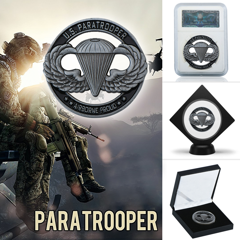 WR USA Army Metal Commemorative Coin US Paratrooper Challenge Copy Coins With Coin Capsule For Collection