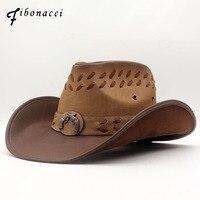 Fibonacci 2018 New Top Quality West Cowboy Hat Fashion Faux Leather Metal Pistol Decoration Sombrero Western Men Women Cap