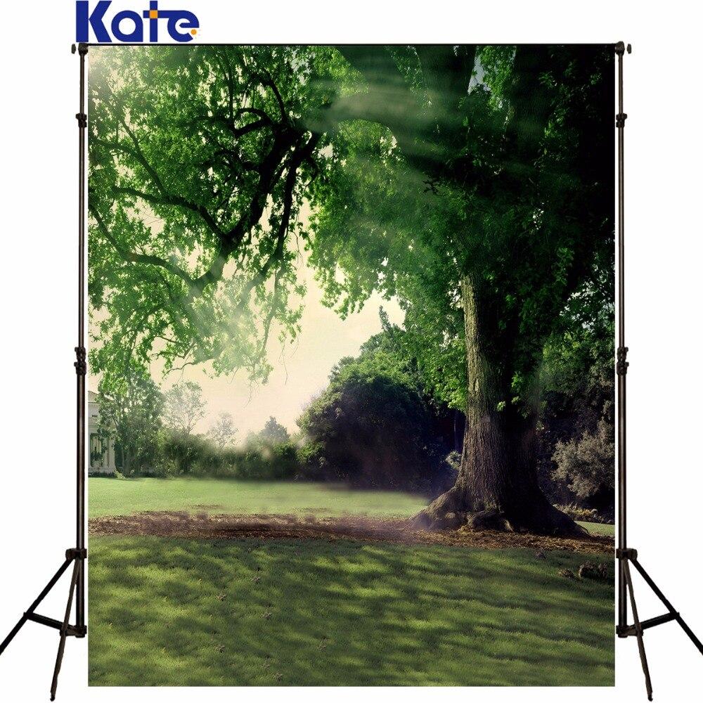 KATE enfants jardin Photo vert pelouse grands arbres mousseline décors pour photographie soleil printemps décors arrière-plan pour Photo