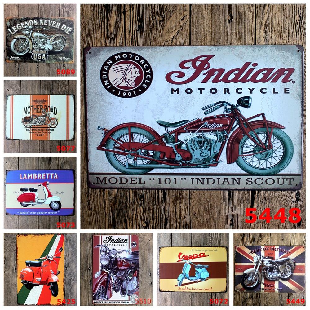 1 Pcs Vintage Decorative Plate Motorcycle Tin Signs Bar Pub Garage Home Art Wall Decor Poster Metal Signs Home Decor 20x30CM