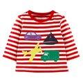 2017 Meninos T-shirt Dos Miúdos T-shirt Do Bebê tshirts Menino Crianças blusas Linda Design de Manga Comprida 100% Algodão Listras Estrelas