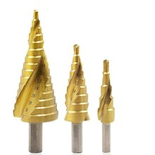 HSS 4241 Triangle Handle Titanium Plated Spiral Groove Step Drill Profeesional Multi-function Drills Drop Shipping Supplier Sale