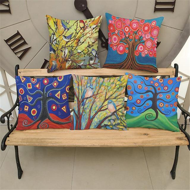 Moderne Europe Plaine Pop Art Plante Arbre Dcoratif Lit Sige Canap Chaise De Bureau Coussins Couvrent