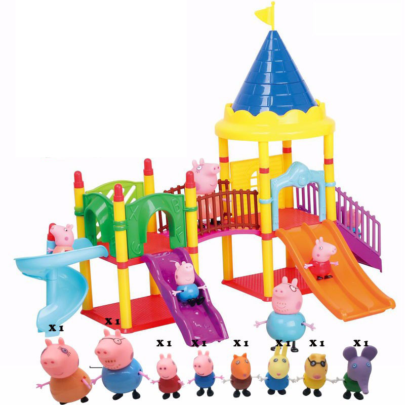 Aiboully toys Series of Amusement park peppaed pig Toys PVC Action Figures Family Member Toy Baby Kid Birthday Gift 12pcs set children kids toys gift mini figures toys little pet animal cat dog lps action figures
