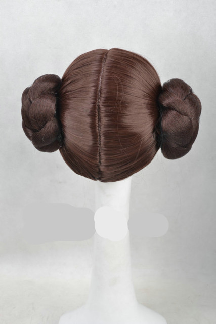 Star Wars Princess Leia Organa Solo Wig Short Brown Cosplay Hair With Two Buns cosplay costume 2