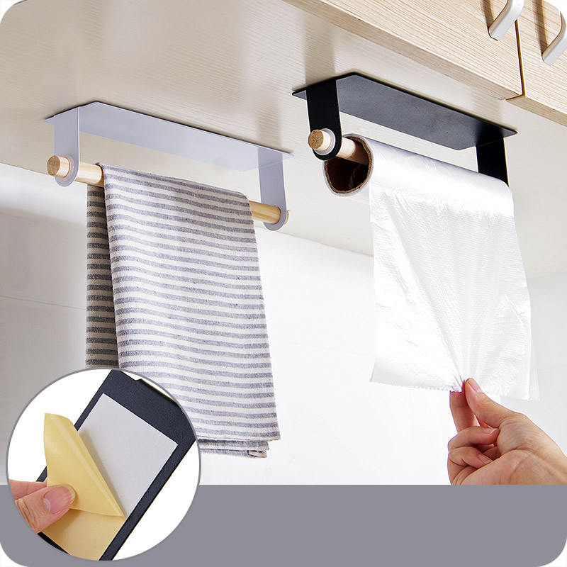 Multifunction Iron Wall Hanging Single Pole Towel Bar Stickers Glue Storage Rack For Kitchen Wipes Towel Holder Save Space