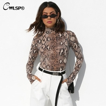 CWLSP Autumn Snake Skin Bodysuits Women Mock Neck Long Sleeve Rompers Skinny Sexy