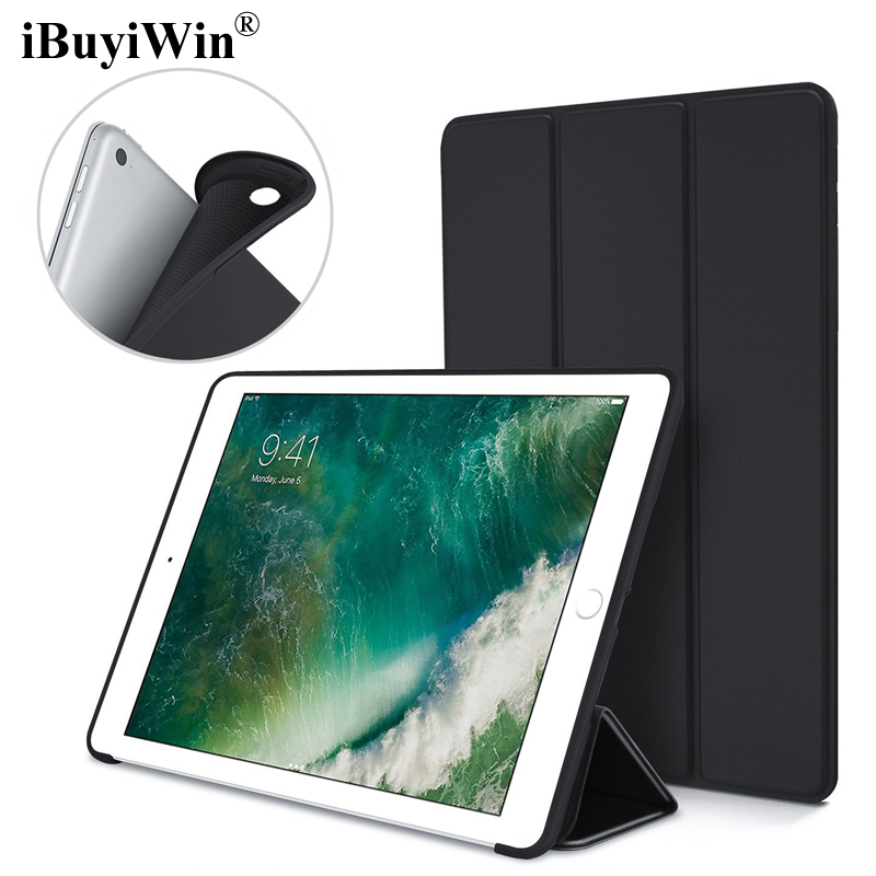 iBuyiWin Case for iPad 2017 Ultra Slim Silicone Soft TPU Stand PU Leather Cases Smart Cover for New iPad 2017 Case 9.7 inch+Film soft silicone tpu translucent back cover for ipad air 2 air2 trifold stand smart auto on off premium pu leather slim fit case