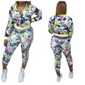 2017 autumn winter casual floral print brand clothing sportswear fashion women's Sets sweatshirt pants 2pcs suits MC5247