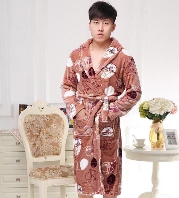 300g Espessamento Robe Longo Fundo Homem Roupão de Flanela Pijamas de Inverno Pijamas Robe 8612