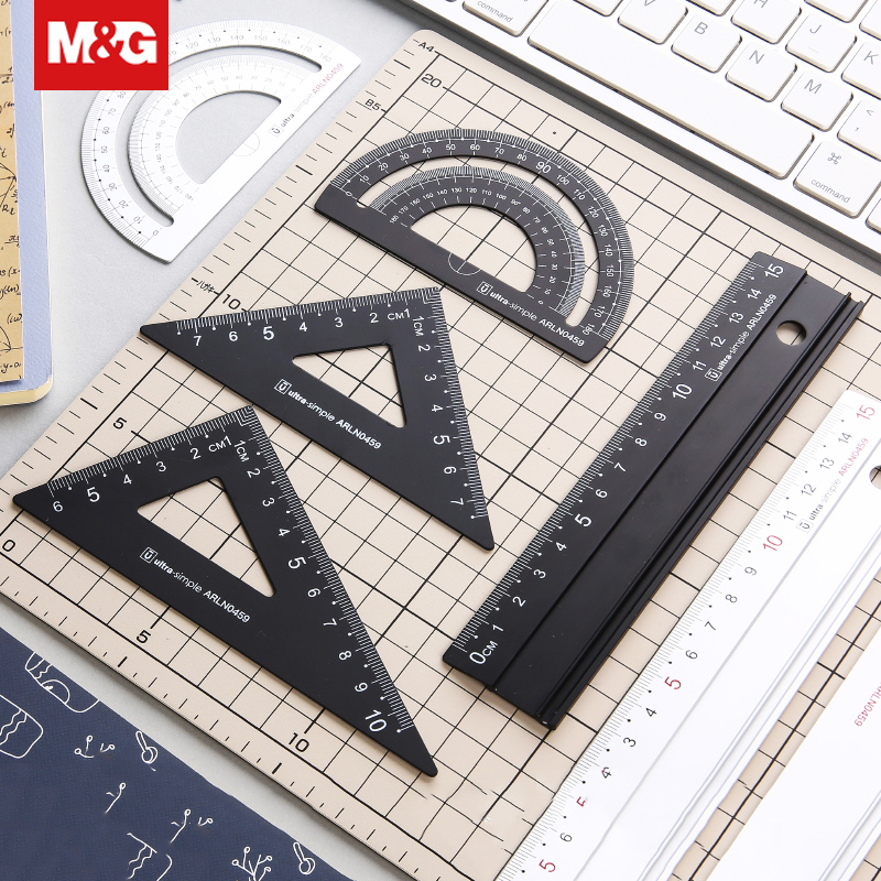Aluminum Metal Double Sided Ruler Set Metal Bookmark Precision Measuring Tool Office School Drawing Drafting Supplies ARLN0459