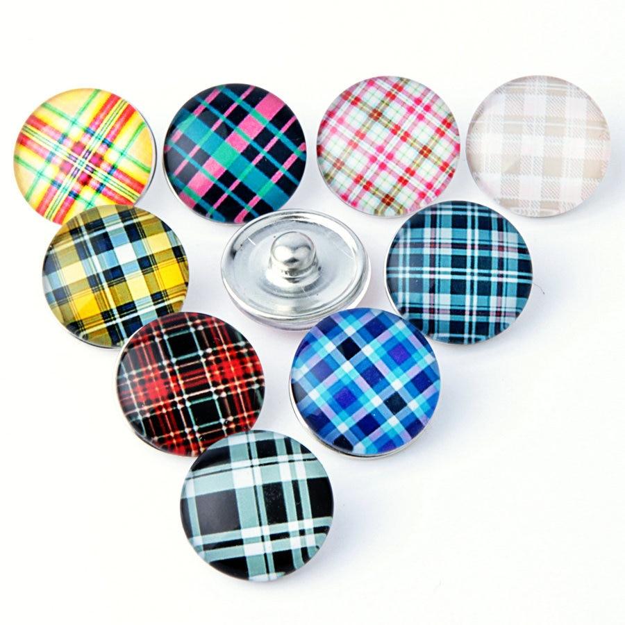 20PCS Round Glass Scottish font b Tartan b font Ginger Snap Buttons 18MM Fit DIY Snap