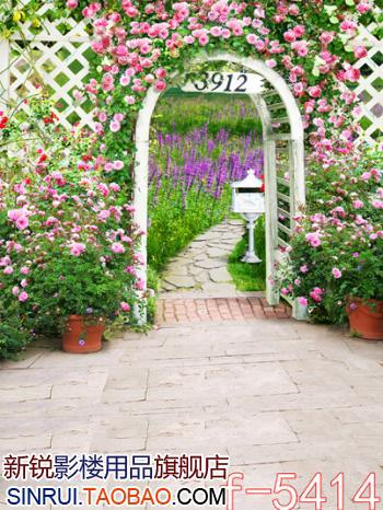 LIFE MAGIC BOX Backgrounds For Photo Studio Cloth Photography Background Flower-Filled Garden Gate