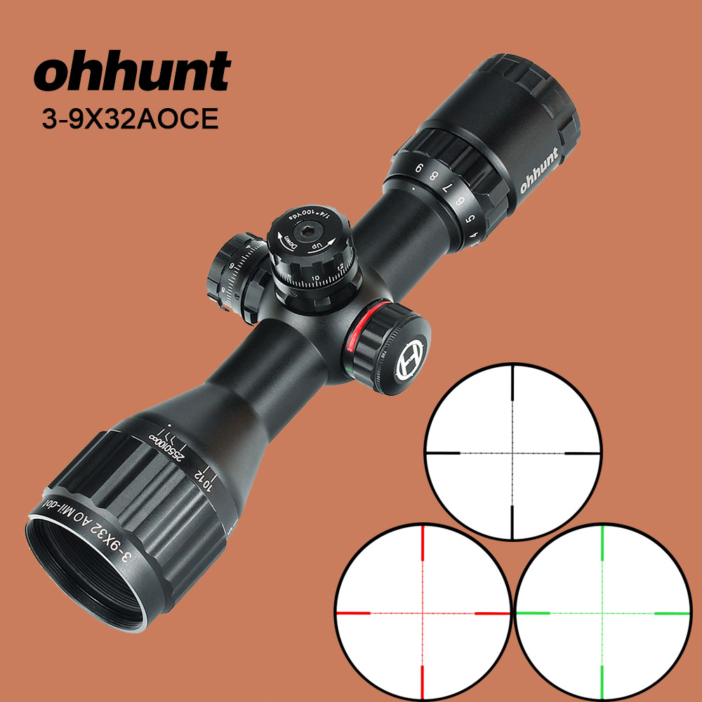 ohhunt 3-9X32AOCE Compact Hunting Rifle Scope 1/2 Half Mil Dot Wire Reticle Red Green Illumination Turrets Locking Optic Sights ohhunt hunting optics 3 9x32 ao compact 1 2 half mil dot reticle riflescopes turrets locking with sun shade tactical rifle scope