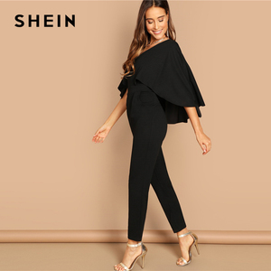 Image 3 - SHEIN Modern Lady Going Out Party Black Elegant V Neck Solid Cape Long Sleeve Cloak Sleeve Jumpsuit Winter Women Jumpsuits