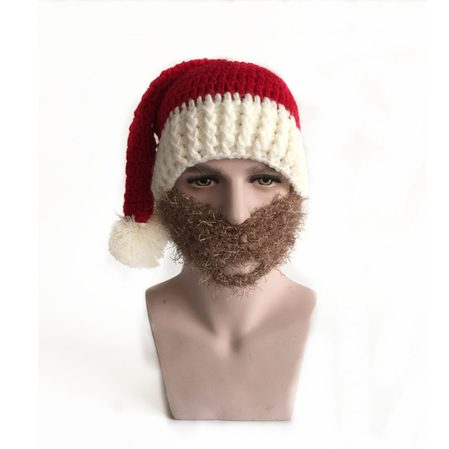 Funny Men Christmas Mask Hat Adult Santa Claus Mask Hat Knitted