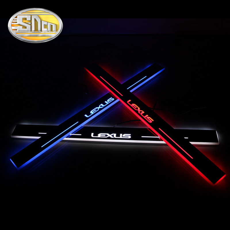 SNCN 4PCS Acrylic Moving LED Welcome Pedal Car Scuff Plate Pedal Door Sill Pathway Light For Lexus ES250 ES300h ES350 2013 2014 sncn led car headlight for for lexus es250 es350 es300h 2013 2014 2pc 12v 50w 8000lm led headlamp conversion kit auto bulb
