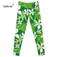 CANDICE ELSA new women leggings fashion green five petals flowers printed leggins fitness pants capris drop shipping size s-4xl