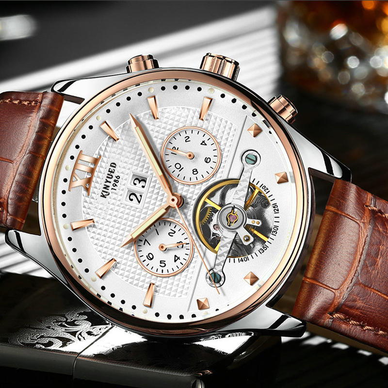Skeleton Tourbillon Automatic Mechanical Watch Men Rose Gold Waterproof Self Winding Watches Leather Calendar Auto Date HorlogesSkeleton Tourbillon Automatic Mechanical Watch Men Rose Gold Waterproof Self Winding Watches Leather Calendar Auto Date Horloges