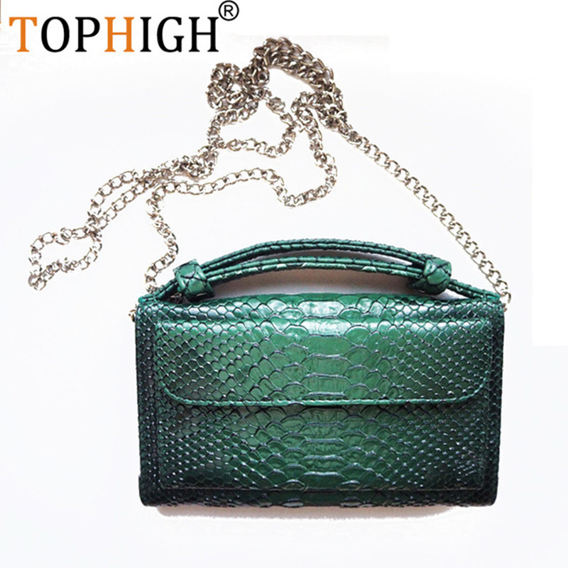 TOPHIGH Cross-Body-Bag Clutch-Chain Crocodile-Pattern Cowhide Small Women's Luxury Gift