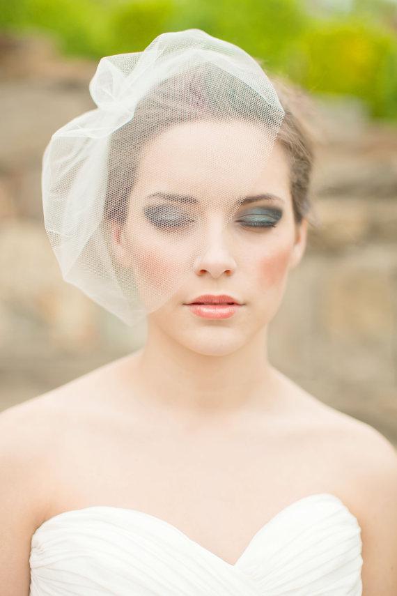 Ivory Color Simple Wedding Birdcage Cheap Wedding Veil Bride Birdcage Party Hair Accessories Veu