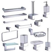 Chrome Bathroom Rack Hardware Accessories Sets Brass Shower Soap Dispenser Dish Towel Rails Robe Hooks Toilet