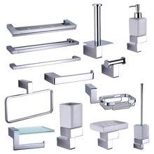 Chrome Ванная комната стойку оборудования аксессуары наборы Латунь Душ мыла полотенце для посуды рельсы крючки для туалетной щетки держатель рулона