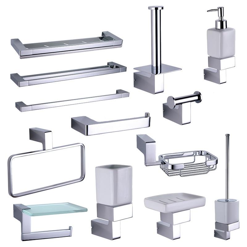 Chrome Bathroom Rack Hardware Accessories Sets Brass Shower Soap Dispenser Dish Towel Rails Robe Hooks Toilet Brush Roll Holder
