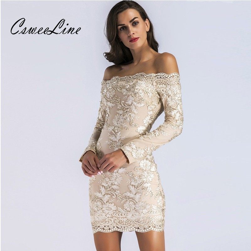 Fashion Floral Embroidery <font><b>Sexy</b></font> <font><b>Elegant</b></font> <font><b>Off</b></font> <font><b>Shoulder</b></font> Women Dress Summer Long Sleeve <font><b>Club</b></font> <font><b>Party</b></font> Chic Sheath <font><b>Bodycon</b></font> Dress <font><b>2018</b></font> image